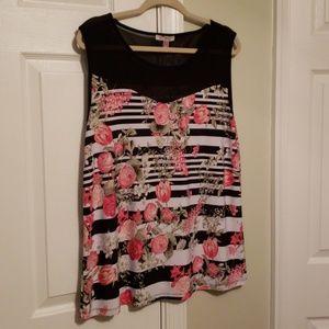 Roz & Ali tank blouse sheer top panel xl